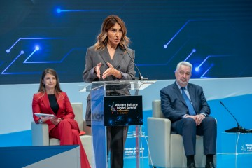 Majlinda Bregu, Secretary General of the Regional Cooperation Council (RCC) speaking at the closing of fourth Western Balkans Digital Summit, in Podgorica on 13 October 2021 (Photo: RCC/Danilo Papic)