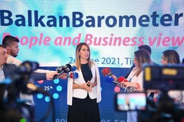 Secretary General Majlinda Bregu at the launch of Balkan Barometer 2021 in Tirana on 24 June 2021 (Photo: RCC/Armand Habazaj)
