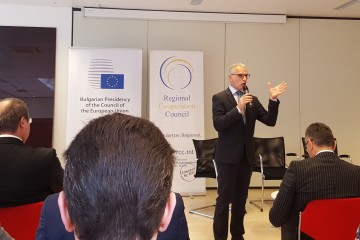 Introductory remarks of the RCC Secretary General Goran Svilanovic at the Conference 'The Western Balkans' European Perspective through Growth, Good Governance and Enhanced Cooperation' in Brussels, 25 April 2018 (Photo: RCC/Bojana Zoric)