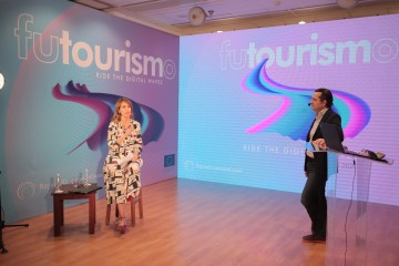 RCC Secretary General Majlinda Bregu and Acting Team Leader of RCC's Tourism Promotion and Development project Nikolaos Parastatidis at the award ceremony of the first regional FUTOURISMO competition held online on 2 March 2020 (Photo: RCC/Ani Media)