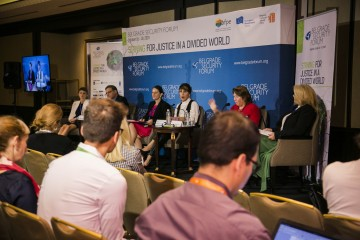"Majlinda Bregu, RCC Secretary General  took part in the Belgrade Security Forum's panel discussion ""Image of the future: A green, more developed Western Balkans"" in Belgrade, 18 October 2019 (Photo: Belgrade Security Forum)"