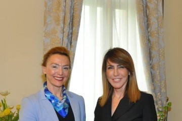 Majlinda Bregu, Secretary General of the Regional Cooperation Council (RCC) with Marija Burić Pejčinović, Deputy Prime Minister and Minister of Foreign and European Affairs of Croatia in Zagreb, 18 April 2019 (Photo: courtesy of Croatian Ministry of Foreign and European Affairs)