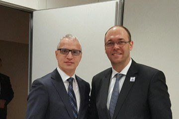Goran Svilanovic (left),  Secretary General of the Regional Cooperation Council meets Davor Ivo Stier, Minister of Foreign and European Affairs of Republic of Croatia on the margins of OSCE Ministerial Council Meeting in Hamburg, Germany, today. (Photo: RCC/Gordana Demser)