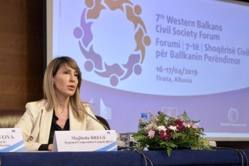 RCC Secretary General Majlinda Bregu at the 7th Western Balkans Civil Society Forum, in Tirana on 16 April 2019 (Photo: RCC/Armand Habazaj)