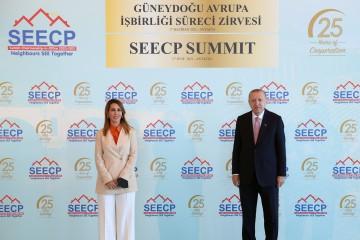 RCC Secretary General Majlinda Bregu with Recep Tayyip Erdogan, President of Turkey at the SEECP Summit held in Antalya on 17 June 2021 (Photo: RCC/Murat Yilmiz)