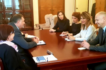 RCC Secretary General Majlinda Bregu with Chairman of the BiH Presidency, Milorad Dodik, on 14 March 2019 in Sarajevo. (Photo: RCC/Selma Ahatovic-Lihic)