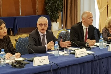 From left to right: Etilda Gjonaj, Albanian Minister of Justice, Goran Svilanovic, RCC Secretary General, Amer Kapetanovic, Head of Political Department of the RCC and Ivana Goranic, organization's Expert on Justice and Home Affairs at the  Cooperation of Region's Judiciary in dealing with Terrorism and Violent Extremism Workshop, in Tirana on 30 May 2018. (Photo: RCC/Natasa Mitrovic)