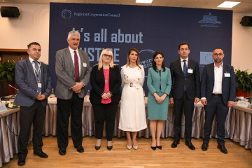 "Participants of the High Level Regional Conference ""It's all about Justice"", on 4 October 2019, in Tirana. (Photo: RCC Armand Habazaj)"