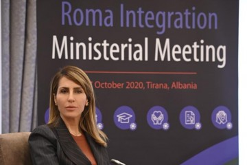 Secretary General Majlinda Bregu at the Ministerial Meeting on Roma Integration, in Tirana on 27 October 2020 (Photo: RCC/Armand Habazaj)