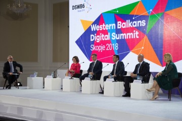 RCC Secretary General Goran Svilanovic (first left), with WB Prime Ministers Denis Zvizdic (second left), Zoran Zaev (centre) and Ramush Haradinaj (second right), at the first Western Balkan Digital Summit, on 18 April 2018 in Skopje. (Photo: Vedad Kamenjasevic)