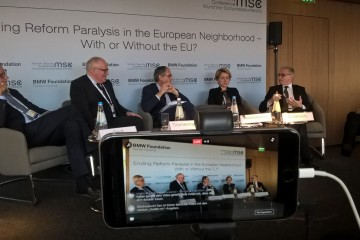 "RCC Secretary General, Goran Svilanovic (first right), at the panel ""Ending Reform Paralysis in the European Neighbourhood – with or without the EU"" organised by the BMW Foundation onset of the 53rd Munich Security Conference, on 17 February 2017. (Photo: BMW Foundation)"