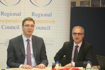 RCC Secretary General Goran Svilanovic (right) welcomes Serbian Prime Minister Aleksandar Vucic at the RCC Secretariat in Sarajevo on 13 May 2014. (Photo RCC/Zoran Kanlic)