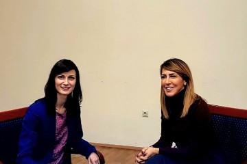 The Secretary General of the Regional Cooperation Council (RCC), Majlinda Bregu (right) met with the EU Commissioner for Digital Economy and Society, Mariya Gabriel (left), in Skopje on 18 February 2019 where they discussed the new Regional Roaming Agreement (RRA2) for the Western Balkans (WB). (Photo:  RCC/Maja Handjiska Trandafilova)