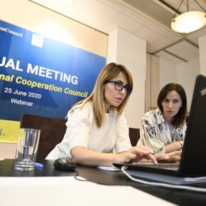 RCC Secretary General Majlinda Bregu with Head of the Office of the Secretary General Elda Kalaja preparing for the RCC Annual Meeting on 25 June 2020 (Photo: RCC/Armand Habazaj)