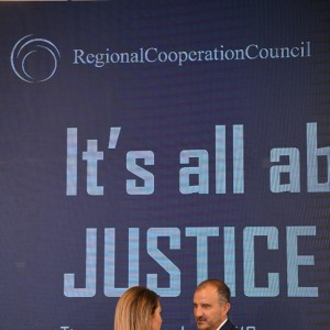 "RCC Secretary General, Majlinda Bregu, and EU Ambassador to Albania, Luigi Soreca, at the High Level Regional Conference ""It's all about Justice"", on 4 October 2019, in Tirana. (Photo: RCC/Armand Habazaj)"