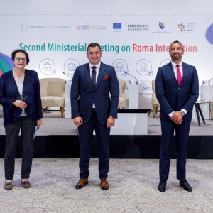 Orhan Usein, Head of Office at RCC's project Roma Integration (second on the left) with Westren Balkans Heads of Delegations at the Ministerial meeting on Roma Integration, in Sarajevo on 28 June 2021 (Photo: RCC/Armin Durgut)
