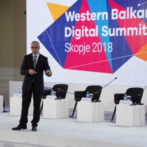 RCC Secretary General Goran Svilanovic, gives a key note speech to the WB prime ministers' panel of the first Western Balkan Digital Summit, on 18 April 2018 in Skopje. (Photo: Vedad Kamenjasevic)