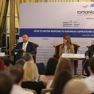 Secretary General of the Regional Cooperation Council Majlinda Bregu at the opening of the Conference 'How to better respond to European aspirations of the young generation in the Western Balkans?' organised by the Romanian Presidency of the EU Council in partnership with the RCC, in Bucharest on 28 May 2019 (Photo: RCC/Stefan Banu)