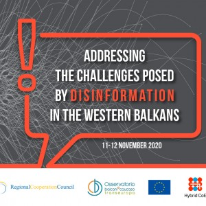 "Online webinar ""Addressing the challenges posed by disinformation in the Western Balkans"" held in Sarajevo on 11-12 November 2020 (Design: RCC/Samir Dedic)"