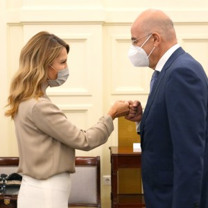 RCC team led by Secretary General Majlinda Bregu met with Minister of Foreign Affairs of Greece Nikos Dendias  on regional cooperation in South East Europe, SEECP priorities and EU perspective of our region, in Athens on 30 September 2021 (Photo: RCC/Charalambos Akriviadis)