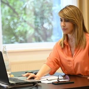 Secretary General of the Regional Cooperation Council Majlinda Bregu presenting the findings of Balkan Barometer 2020 on a webinar held on 24 June 2020 (Photo: RCC/Armand Habazaj)