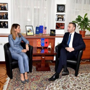 RCC Secretary General Majlinda Bregu with MP and Head of the European Affairs Committee, Artan Grubi, on 22 January 2019 in Skopje. (Photo: Courtesy of the Assembly)