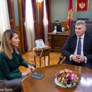 Within the official visit to Montenegro, Secretary General of the Regional Cooperation Council (RCC) Majlinda Bregu met with the Speaker of the Parliament, Ivan Brajović, in Podgorica on 22 February 2019 (Photo: Courtesy of the Parliament of Montenegro)