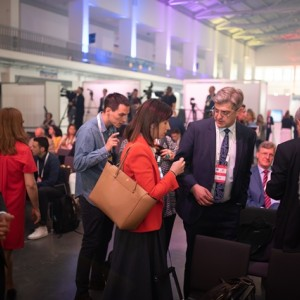 Guests and hosts waiting for the presentation of Balkan Barometer 2019 in Poznan within Western Balkans Summit, 4 July 2019 (Photo: RCC/Erik Witsoe)