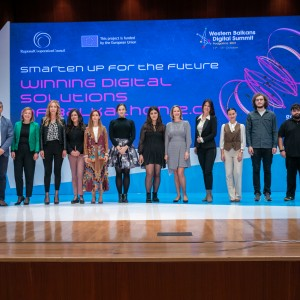 Winners of the Balkathon 2.0 with the RCC Digital team at the presentation of their winning digital solutions at the fourth Western Balkans Digital Summit, in Podgorica on 12 October 2021 (Photo: RCC/Danilo Papic)