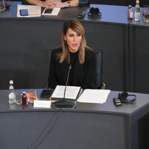 Secretary General Majlinda Bregu at the Western Balkans Digital Summit, in Tirana on 2 November 2020 (Photo: RCC/Armand Habazaj)