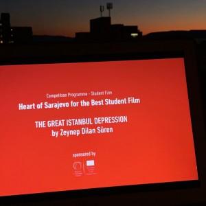"Heart of Sarajevo for the Best Student Film 2020 goes to Zeynep Dilan Süren for ""The Great Istanbul Depression"" (Photo: RCC/Emina Basic)"