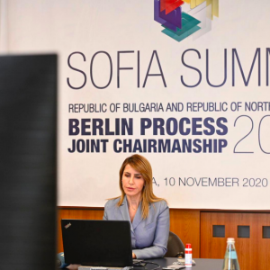 Secretary General Majlinda Bregu at the Western Balkans Sofia Summit on 10 November 2020