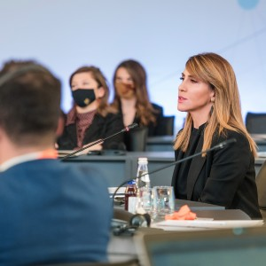 Secretary General Majlinda Bregu at the Western Balkans Digital Summit 2020 Ministerial Meeting, in Tirana on 2 November 2020 (Photo: RCC/Armand Habazaj)