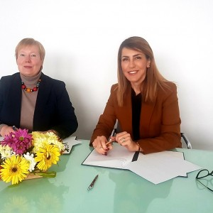 RCC Secretary General Majlinda Bregu (right) and German Ambassador to Bosnia and Herzegovina Christine Hohmann, sign an agreement on financial grant to support RCC's public awareness activities in the next 2 years, on 13 February 2019 in Sarajevo. (Photo: RCC/Alma Arslanagic Pozder)