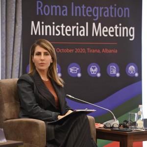 Secretary General Majlinda Bregu at the Ministerial Meeting on Roma Integration, in Tirana on 27 October 2020 (Photo: RCC/Armand Habazaj)
