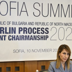 Secretary General Majlinda Bregu at Western Balkans Sofia Summit on 10 November 2020 (Photo: RCC/Armand Habazaj)