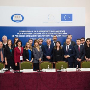 Participants of the Conference of the Parliamentary Committees for EU affairs of the countries participating in the Stabilisation and Association Process of South East Europe (COSAP) held in Tirana on 17 January 2020 (Photo: RCC/Armand Habazaj)