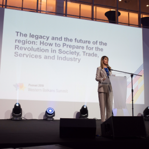 RCC Secretary General Majlinda Bregu at the opening session of the Western Balkans Summit in Poznan, 4 July 2019 (Photo: RCC/Erik Witsoe)