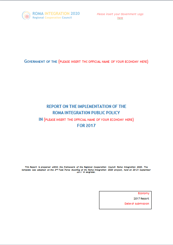 Template for Report on the Implementation of the Roma Integration Public Policy for 2017