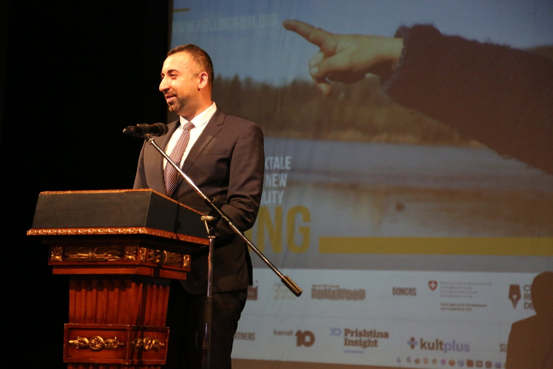 Orhan Usein, Head of Office of RCC's Roma Integration Project addressing at the Rolling Film Festival (photo: Rolling Film Festival)