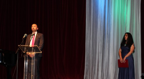 Orhan Usein, Head of Office of RCC's Roma Integration Project addressing the ceremonial academy held on 8 April 2021 at the National Theatre in Belgrade on the occasion of International Roma Day (Photo: RCC/Danilo Vukmirovic)