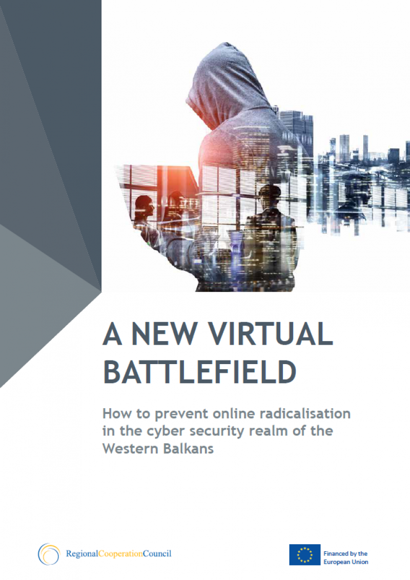 Photo: Cover page of RCC Study: A NEW VIRTUAL BATTLEFIELD How to prevent online radicalisation in the cyber security realm of the Western Balkans (2018). Download link: https://goo.gl/wZEwAL