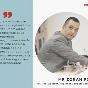 Mr Zoran Popov from @rccint highlighting the importance of regional cooperation and information exchange to solve some of the region's most pressing challenges , Photo Credit: RT TW: @UNDP_SEESAC