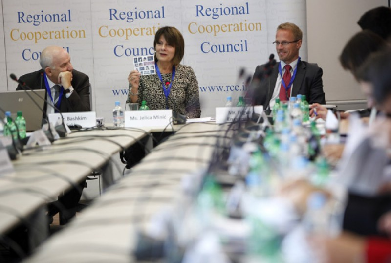 Jelica Minic (centre), Deputy RCC Secretary General, Bashkim Sykja (left), Director of Competitiveness Policy Department at the Ministry of Economy, Trade and Energy of Albania and Yngve Engstroem, Head of Regional Cooperation and Programmes Unit at the EC's Directorate General for Enlargement, at the opening of the 11th SEEIC meeting, in Sarajevo on 3 October 2012. (Photo: RCC/Dado Ruvic)