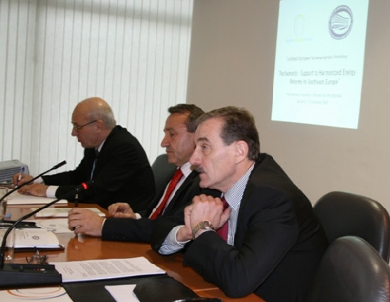 "RCC Secretary General, Hido Biscevic (right) at the workshop ""Parliaments – Support to Harmonized Energy Reforms in Southeast Europe"", Sarajevo, BiH, 15 December 2008. (Photo RCC/Selma Ahatovic-Lihic)"