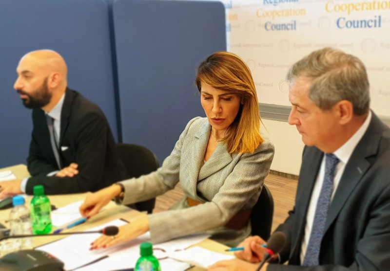 Secretary General of the Regional Cooperation Council Majlinda Bregu with Deputy Secretary General Gazmend Turdiu (right) and BiH SEECP C-i-O representative Goran Behmen (left) at the 37th meeting of the RCC Board, on 16 May 2019 in Sarajevo (Photo: RCC/Alma Arslanagic-Pozder)