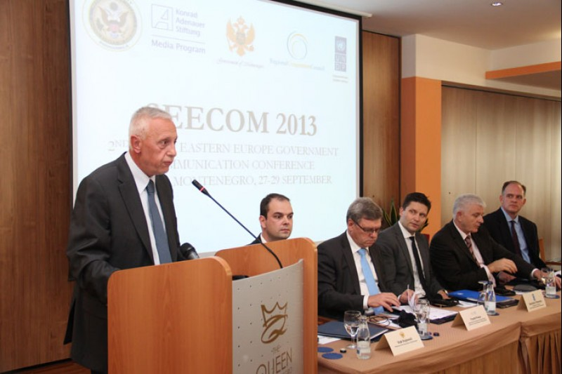 Jovan Tegovski (first left), RCC Chief of Staff, opens the 2nd South Eastern European Government Communication Conference, in Budva, Montenegro, on 27 September 2013.