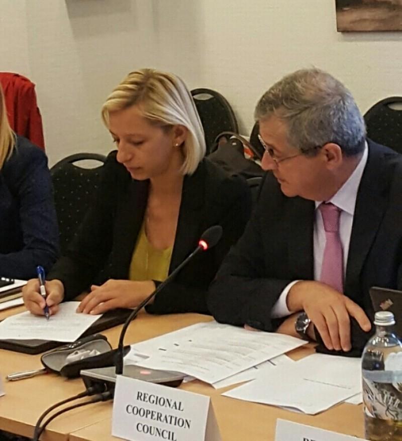 RCC Deputy Secretary General, Gazmend Turdiu and Maja Pinjo Talevska, Senior Programming Expert at the Fourth Meeting of the SEE 2020 Programming Committee in Vienna on 29 September. (Photo: RCC/Nedima Hadziibrisevic)