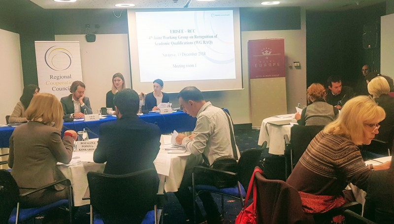 Participants of the 4th Joint Working Group on Recognition of Academic Qualifications (WG RAQ), in Sarajevo on 13 December 2018 (Photo: RCC/Alma Arslanagic Pozder)