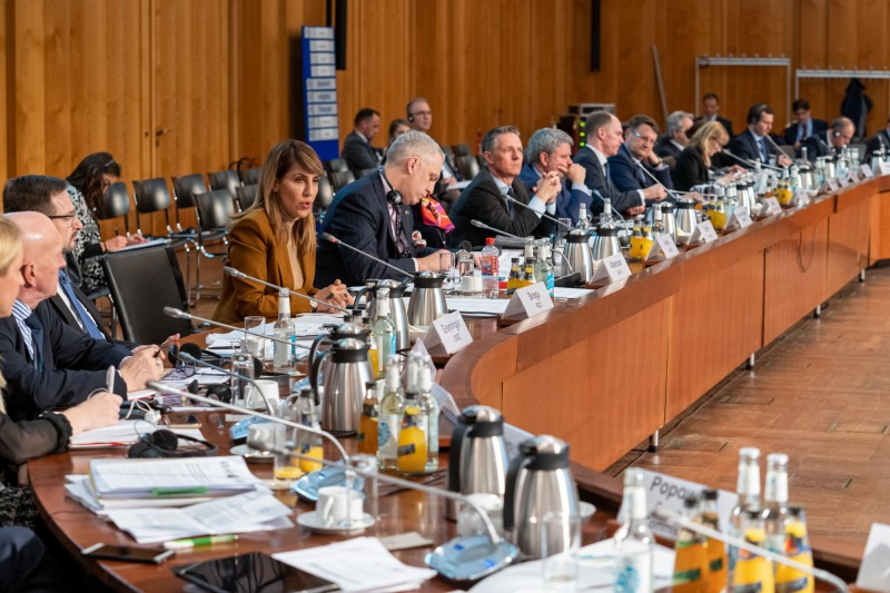 Majlinda Bregu, Secretary General of the Regional Cooperation Council (RCC) speaking at the high-level meeting on the implementation of the Roadmap for comprehensive SALW in the Western Balkans in Berlin on 31 January 2020 (Photo: RCC/David Beercroft)